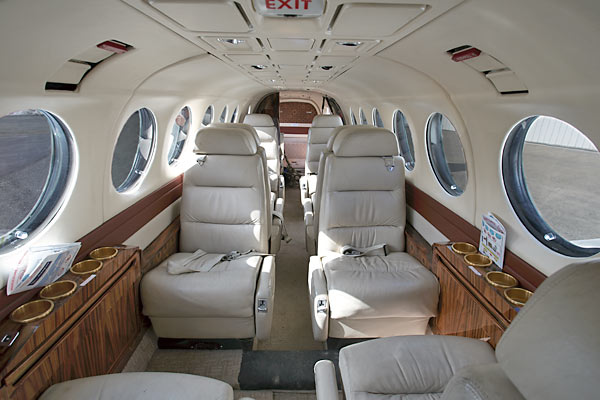 Interior photo of our corporate charter plane